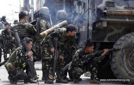 Philippine Army Forces fighting Muslim rebels in Zamboanga City.