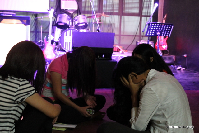 Youth from different churches uniting to pray for their nation.